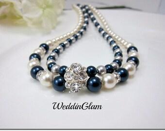 Wedding Necklace Swarovski ivory navy blue Pearl Rhinestone Necklace Bridal Necklace Wedding Jewelry Wedding accessory Bridal Jewelry