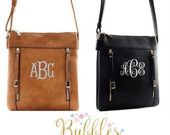 Monogrammed Zipper Messenger Bag Brown