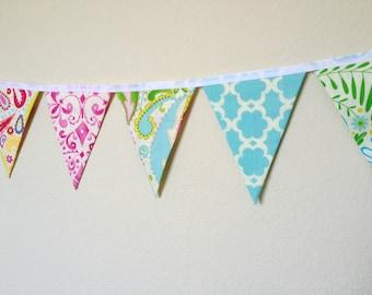 Bunting- Kumari Garden, Party Bunting, Nursery Bunting, Fabric Bunting
