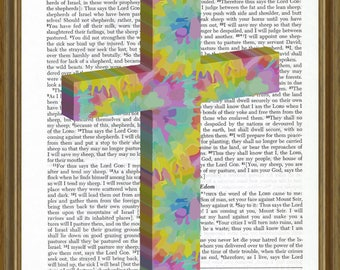 Cross with tie-dye design on Bible page