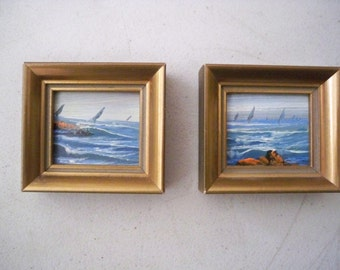 Vintage Pair of Hand Painted Miniature Pictures Made in Spain