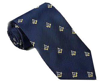 MASONIC Club Tie - NECKTIE - Navy with Gold Accent Masonic Logos - Regular & Extra Long Lengths