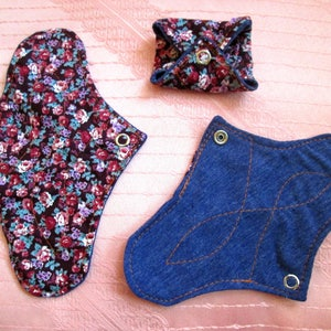 3 pack Cotton Panty-liners~ washable panty liners~ cotton reusable pads~ for daily use/ light flow period days/ tampon backup~ natural eco!