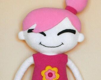 Pinky cloth rag Doll fleece sewing pattern - pdf