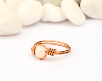 Mother of pearl ring, Wire wrapped ring, Copper ring, White stone ring, Gemstone ring, Copper wire ring, White ring, Ring with Gemstone