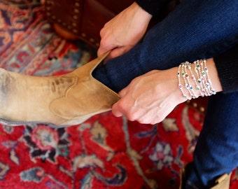 The Calypso - Womens Sterling Beaded Swarovski Crystal Bracelet, Necklace or Ankle Wrap, Sterling Magnetic Clasp Bracelet, Custom Bracelet
