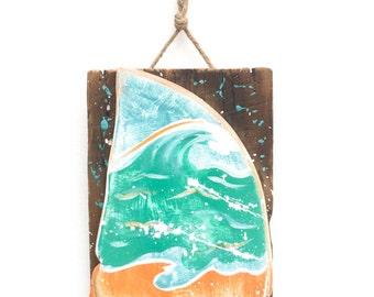 Shark Fin with Ocean Waves-Personalize and Adopt This Original Art Item- Painting OOAK Home Decor Beach Art Shark Fin Wall Art Mangoseed