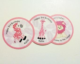 30 Pink Safari Birthday Labels