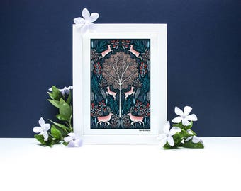 Folk Deer - A4 or A3 Artists Print