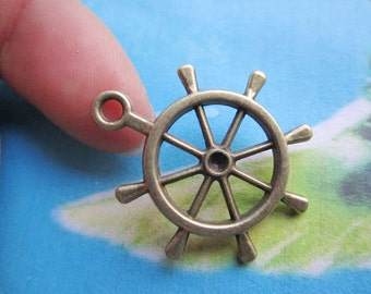 20pc 25mm antiqued bronze Pirate ship rudder sign charms findings