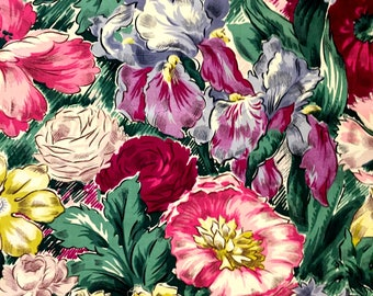 "Stunning 40s Floral Masterpiece// Hollywood Regency Fabric// Cotton Yardage// Upholstery// Apparel// Home Decor// 43""x94"""
