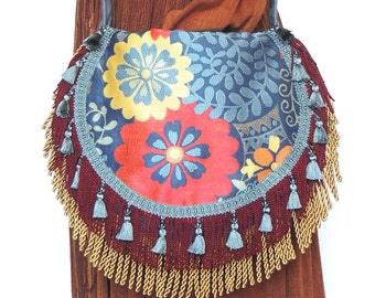 Floral tapestry bohemian purse, red and yellow gypsy bag, fringed bag, Carrie Original