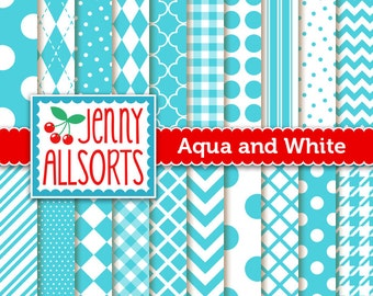 Aqua Digital Scrapbook Papers - 20 Graphic Pattern Sheets - Instant Download