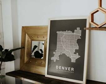 DENVER Map. Screen Print Poster. Neighborhood Map. Modern Home Decor Print. Denver Colorado Art Poster. Multiple Colors.