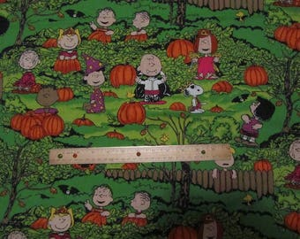 Green Peanuts Gang Halloween Pumpkin Patch Cotton Fabric by the Half Yard