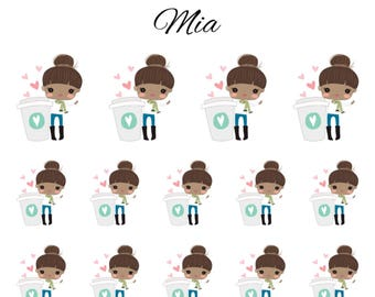 Mia / Cute Girl / Brown Hair / Dark Skin / Coffee Characters // Enchanted Squad / Planner Stickers / Printable / Cricut / Instant Download