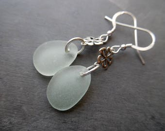 Sea Glass Flower Earrings Sterling Silver Sea Foam Dangles Beach Jewelry