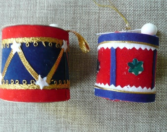 Vintage 70s Flocked Drums Christmas Ornaments Set of 2