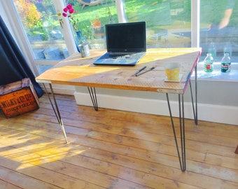 Industrial desk | Scaffold desk with steel hairpin legs