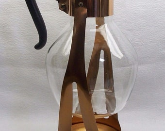 Vintage Corning Brand Glass and Copper Coffee Carafe Warmer Heat Proof Glass