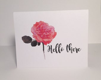 Hello There Watercolor Card, Greeting Card, Simple Card