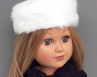 18 Inch Doll Clothes, White Russian Hat, Pillbox Hat, Faux Fur Doll Hat, 18 Inch Doll Accessories