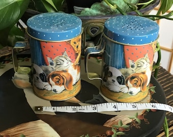 Large Vintage Tin Metal Salt And Pepper Shakers Kittens and Puppies