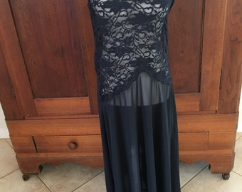 L / Victoria's Secret/ Long/Black/Nightgown with Lace Top/Sheer/large