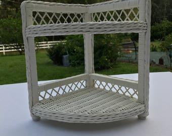 Wicker Corner Shelf,White, Two Shelf Corner Wicker, Natural Wicker, Two Tier,