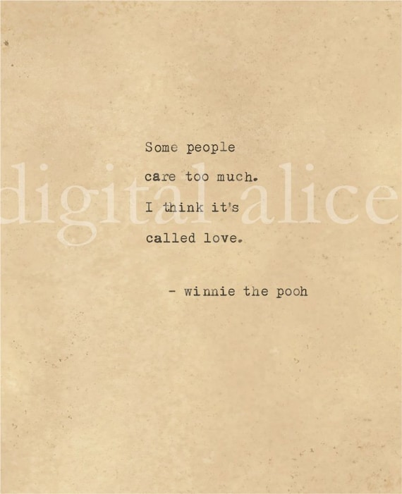 VINTAGE TYPEWRITER PRINT Winnie the Pooh Love Quote Wall Art