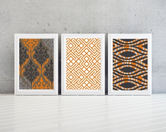 modern damask/geometric - Orange white and Blue Modern wall Art Print - Set of (3)