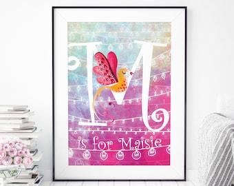 Personalised Name Print, Initial Print Nursery, Personalised Baby Gift, Personalised Baby Print,  Pink Nursery Print, Pink Kids Room Decor