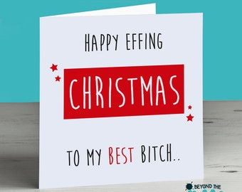 Late christmas card etsy funny best friend christmas card happy effing christmas to my best bitch m4hsunfo