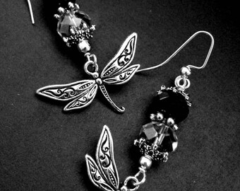 Dragonfly Earrings:Austrian Crystal; Grey and Black; Antique Silver Tone Spacers; 1.5 inches
