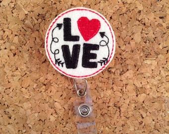 Badge Reel, Valentine LOVE Badge Reel, Felt Badge Reel, Retractable Name Holder, Nurse Gift, Teacher Gift, 1063