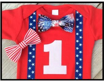 Boys First Birthday Outfit - Patriotic Birthday Boy - 4th of July Birthday Outfit - Baby Boy - Fourth of July Birthday Outfit