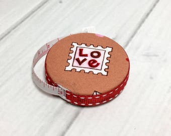Love Letter Fabric Covered Retractable Tape Measure