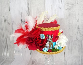Red Gold and Blue Harlequin Queen of Hearts Cutout with Roses Medium Mini Top Hat Fascinator, Alice in Wonderland Mad Hatter Tea Party