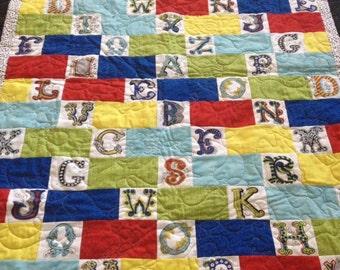 Alphabet Baby Quilt, ABC Baby Quilt, Animal Baby Quilt, Baby Quilt, Alphabet Quilt, ABC Quilt, Alphabet Blanket, Alphabet Bedding, Baby Bed