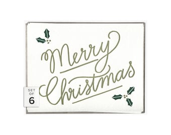 Merry Christmas letterpress card - set of six