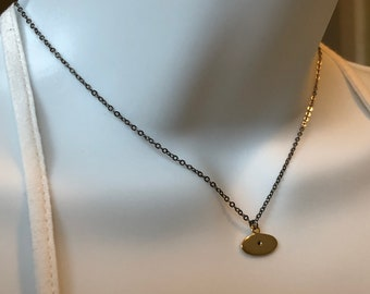 Minimalist Gun Metal Chain and  Gold Charm with a Genuine Black Diamond