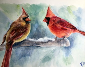 "Winter Cardinals Original Watercolor Painting size 4X6"" on watercolor paper adorable red bird"
