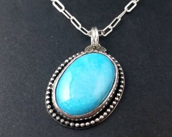 Pastel Blue Arizona Turquoise Asymmetrical Electric Blue Pendant