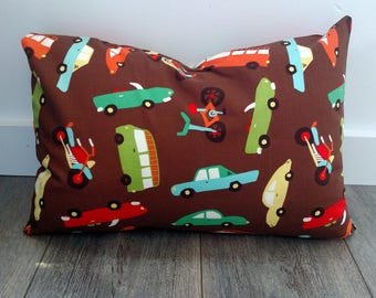 Cars in Brown Pillowcase - fits 13 x 18 Travel or Toddler Pillow