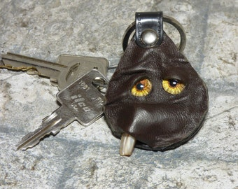 Hand Made Leather Key Ring Fob With Face Eye Key Purse Charm Monster 326