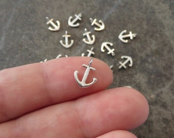 12 Mini Anchor Charms Tiny Anchors Nautical Beach Ocean Sea Shore Cruise Jewelry Craft Supplies 12x8mm NOTE SIZE
