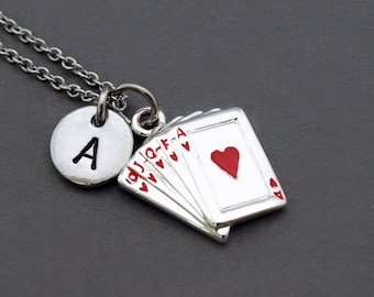Ace of hearts charm necklace, Playing cards necklace, Playing card, initial necklace, initial hand stamped, personalized, monogram