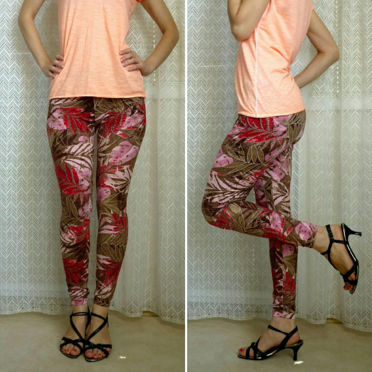 Leaf Yoga Leggings Printed Brown Tights Patterned Beige