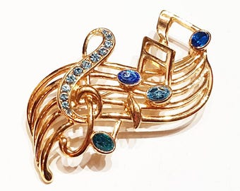TRIFARI Musical Note Brooch Vintage  Gold Glass Treble Clef Signed