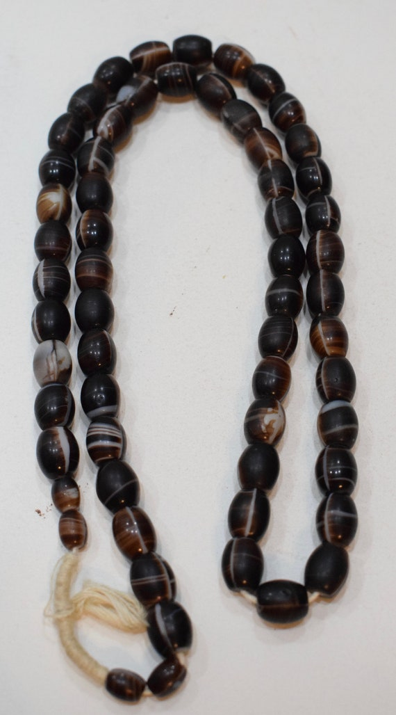Beads African Brown White Oval Vintage Beads 12mm